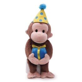 Gund Curious George Dressed for a Birthday 35cm - Stofftier, Plüschtier Coco der neugierige Affe - aus USA -