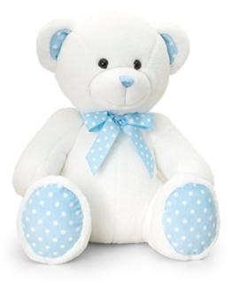 Keel Baby Plüschtier Bär in Beige - Blau, Kuscheltier Teddy sitzend ca. 25 cm -