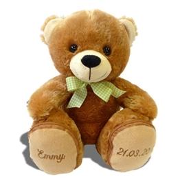 Plüschbär Emmy individuell bestickt, knuddeliges Stofftier individualisiert mit eigenen Daten, Geschenk mit Namen, kuscheliger personalisierter Bär, Plüschtier mit Bestickung, Teddy zur Geburt -