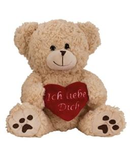 Plüschtier Bär in Creme Weiss ca. 25 cm mit rotem Herz Ich Liebe Dich Kuscheltier Stofftier Teddy -