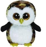 TY 36991 - Owliver Buddy - Eule gelb glitzernder Schnabel und Füße mit Glitzeraugen, Glubschi's, Beanie Boo's, Large 24 cm, schwarz/braun -