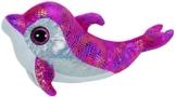 TY 37011 - Sparkles Buddy - Delfin bunt glitzernde Oberseite mit Glitzeraugen, Glubschi's, Beanie Boo's, Large 24 cm, pink -