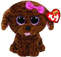 Carletto Ty 36157 - Plüschtier - Maddie - Hund mit Schleife, Glitzeraugen, Glubschi's, Beanie Boo's, 15 cm, braun - 1