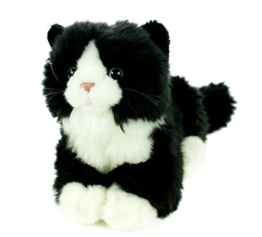 Kuscheltier Katze mit Stimme liegend schwarz/weiß 23 cm Plüschtier Plüschkatze - 1