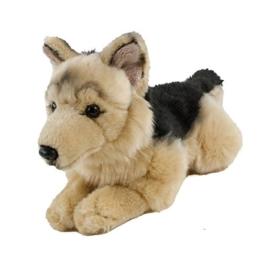 Kuscheltier Schäferhund 30 cm liegend braun/schwarz Plüschschäferhund - 1