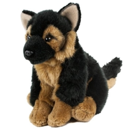 Kuscheltier Schäferhund sitzend 19 cm schwarz/braun Plüschschäferhund - 1