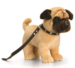 Plüschtier beiger Mops mit Leine, Kuscheltier lebensechter Hund ca. 30 cm - 1