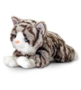 Plüschtier Katze grau getigert Jade, Keel Toys Kuscheltier liegend ca. 30 cm - 1