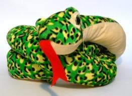 Schlange Plüsch 180cm Grün-Gelb gefleckt Plüschtier NEU - 1