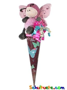 Schultüte / Zuckertüte 50cm, Schmetterling gefüllt mit Süßigkeiten, verziert mit Plüschtier und Schleife - 1