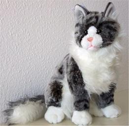sitzende graugetigerte Katze Maine Coon 35 cm, von Luigi Bochetta, Plüschkatze, Kuscheltier - 1