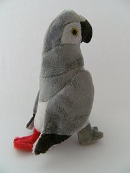 Stofftier Graupapagei 20 cm, Kuscheltier Plüschtier Vogel Papagei - 1