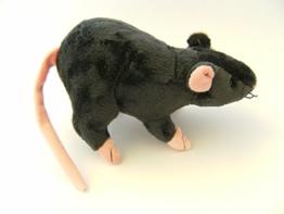 Stofftier Ratte 20 cm +12 cm Schwanz, schwarz, Kuscheltier, Plüschtier, Ratten, Maus - 1