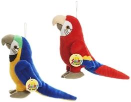 Sunny Toys 32524 - Plüsch Papagei 20 cm, 2er Set, rot/blau - 1