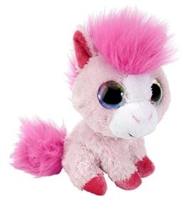Sweet and Sassy Pony Plüschtier mit Regenbogen Augen, Kuscheltier Pferd sitzend ca. 13 cm - 1
