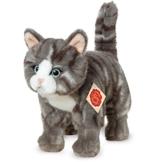 Teddy Hermann 918226 Katze stehend Plüsch, grau/getigert, 20 cm - 1