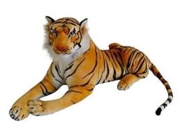 Tiger Wildtier Steppe liegend Plüsch Kuscheltier ca. 80 cm Länge - 1