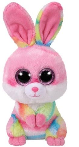 TY 36872 Lollipop, Hase Pink/Farbig 15cm, mit Glitzeraugen, Beanie Boo's, Ostern Limitiert - 1