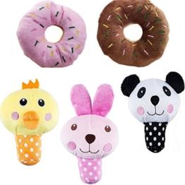 UEETEK 5 Stück Hund Plüschtier Squeak Spielzeug, Hund Kauen Spielzeug mit Sound für Haustier Ausbildung((Rot Donut + Kaffee Donut + Gelb Küken +Panda + Rosa Hase) - 1