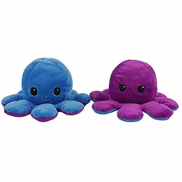 Auifor Flip Plüsch Oktopus Spielzeug, stofftier Puppe Doppelseitiger Flip Reversibel Sanft Tintenfisch Kinder Süß Tier Cartoon plüschtier 1 Stück Geschenk Kinderspielzeug (A1) - 1
