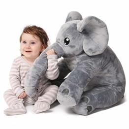 corimori® - Elefant Nuru großes XXL Kuscheltier für Kleinkinder, bauschig und weich, kuschel-softe Qualität, grau - 1