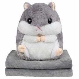 EisEyen Baby Kinder Plüschtier Hamster Kissen mit Fleecedecke Blanket Kawaii Fluffy Hamster weichem Plüsch Spielzeug Puppe niedlich gefüllte Spielzeug - 1