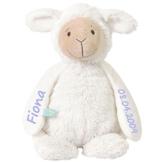Elefantasie Stofftier Schaf mit Namen und Geburtsdatum personalisiert Geschenk 20cm weiß Aufdruck hellblau - 1