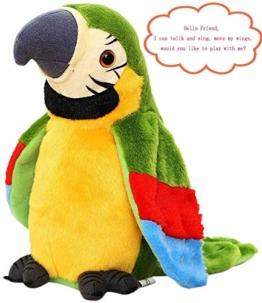 FakeFace Lustiges Sprechender Papagei Nachsprechendes Plüschtier Wiederholenfunktion Kuscheltiere mit den Flügeln winken, Plüschvogel, Talking Plüsch Spielzeug für Kinder,GRÜN - 1