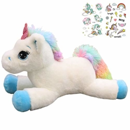 Georgie Porgy Kinder Plüach mit Einhoin Stofftier Mehrfarbigen Kuscheltier Pony Regenbogenschwanz Kuschelgeschenke für Mädchen ab 3 Jahren, Blau/Weiß - 1