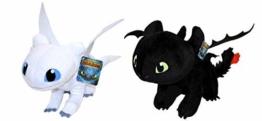 """HTTYD Drachenzähmen leicht gemacht - Dragons - Pack 2 Plüsch Light Fury weiße + Ohnezahn Toothless schwarz - Qualiät super Soft 11'80""""/30cm (40 cm Schwanz enthalten) - 1"""