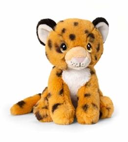 Keeleco SE6232 Plüschtier Gepard sitzend, ca. 18 cm, aus recycelten Materialien, Augen aufgestickt aus Baumwolle - 1