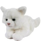 Kuscheltier Katze Kätzchen Wolke 30 cm mit Schwanz liegend Plüschtier Schmusekatze weiß - 1