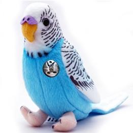 Kuscheltiere.biz Wellensittich BUBI blau 19 cm Sittich Vogel Plüschtier - 1