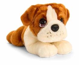 Lashuma Keel Toys Plüschtier Hund Bulldogge, Kuscheltier Welpe Liegend 32 cm, Stofftier Hündchen Braun Weiß - 1