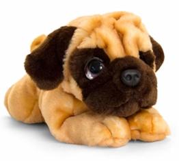 Lashuma Keel Toys Plüschtier Hund Mops, Kuscheltier liegend 37 cm - 1