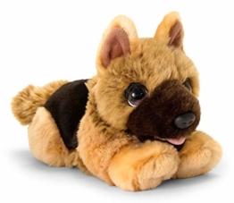 Lashuma Keel Toys Plüschtier Hund Schäferhund, Kuscheltier Hündchen Liegend 32 cm, Stoffhund Beige - 1