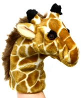 Lashuma Kuscheltier Handpuppe Giraffe, Flauschige Plüschtier Handspielpuppe, Süße Wildtier Kasperpuppe Größe 25 cm - 1