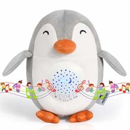 Momcozy Pinguin White Noise Machine, Wiederaufladbarer Nachtlicht-Projektor, Stern-Projektor, Baby-Schlafhilfe, Musik-Spielzeug mit 15 Beruhigenden Geräuschen, Nachtlampe mit Weinen-Sensorfunktion uvm - 1