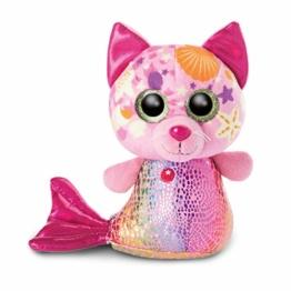 NICI 46825 Original-Glubschis Meerjungfrau Katze Aqua-Marie 15cm-Kuscheltier Augen – Flauschiges Plüschtier mit großen Glitzeraugen – Schmusetier für Kuscheltierliebhaber - 1
