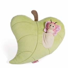 NICI Schmetterling im figürlichen Blatt, Kuschelkissen für Jungen, Mädchen, Babys, Flauschiges Stofftier, Plüschtier Kissen ab 0 Monaten I 44939, grün, 30 x 32 cm - 1
