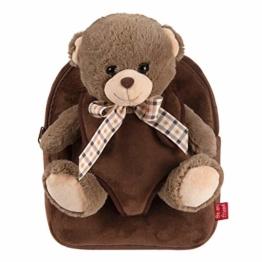 PERLETTI Kuscheltier Braunbär Rucksack für Kinder mit Plüschtier Bär - Pluschbär Weich Flauschig und Kindergarten Schultasche - 3 4 5 Jahren Baby Kindertasche 27x21x9 cm (Braunbär mit Bogen) - 1