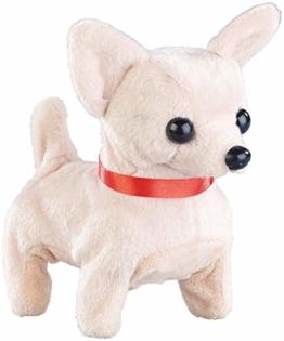 Playtastic Spielzeug Hund wie Echt: Niedlicher Plüsch-Chihuahua, läuft und bellt, batteriebetrieben (Spielzeug Hund der läuft und bellt) - 1