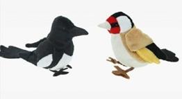Plüsch Elster und Stieglitz 2er Set ca.13 cm ,Kuscheltier Vogel Plüschtier Gartenvogel - 1