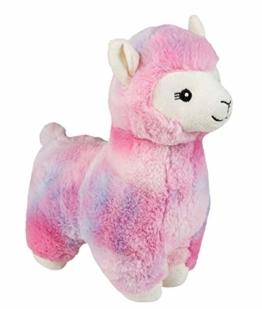 Plüschtier Alpaka, mit kuscheligem Fell, für Babys ab 12 Monaten, ca. 30 cm, pink - 1