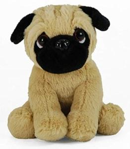 Plüschtier Hund Mops, Supersüß kuscheltier, Stofftier sitzend ca. 18 cm - 1