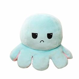 Sallyohno Doppelseitiges Plüsch Spielzeug Octopus Plüschtier, Oktopus Kuscheltier Zum Wenden, Kreative Stofftier Spielzeuggeschenke für Kinder, Familie, Freunde (C) - 1