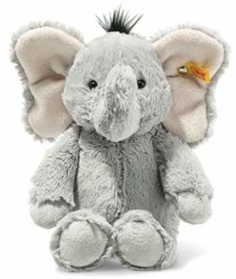 Steiff 064982 Original Plüschtier Ella Elefant, Soft Cuddly Friends Kuscheltier ca. 30 cm, Markenplüsch mit Knopf im Ohr, Schmusefreund für Babys von Geburt an, grau - 1