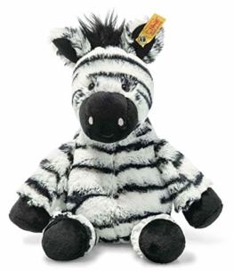 Steiff 069109 Original Plüschtier Zora Zebra, Soft Cuddly Friends Kuscheltier ca. 30 cm, Markenplüsch mit Knopf im Ohr, Schmusefreund für Babys von Geburt an, weiß-schwarz - 1