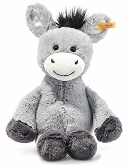 Steiff 073748 Original Plüschtier Dinkie Esel, Soft Cuddly Friends Kuscheltier ca. 30 cm, Markenplüsch mit Knopf im Ohr, Schmusefreund für Babys von Geburt an, graublau - 1