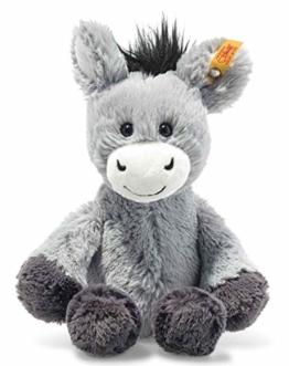 Steiff 073922 Original Plüschtier Dinkie Esel, Soft Cuddly Friends Kuscheltier ca. 20 cm, Markenplüsch mit Knopf im Ohr, Schmusefreund für Babys von Geburt an, graublau - 1